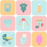 Babygoederen Kinderen vlakke pictogrammen Stock Afbeeldingen