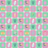 Babygoederen Kinderen vlakke pictogrammen Royalty-vrije Stock Afbeelding