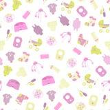 Babygoederen Patroon van de pictogrammen van babygoederen Kinderen vlakke pictogrammen Stock Foto
