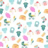 Babygoederen Patroon van de pictogrammen van babygoederen Kinderen vlakke pictogrammen Stock Fotografie