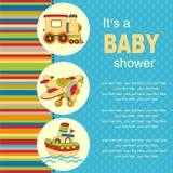 Babyhintergrund mit Zug, Flugzeug und Boot Stockfotos