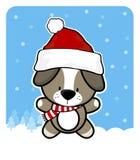 Babyhund mit Weihnachtsmann-Rothut Stockfoto