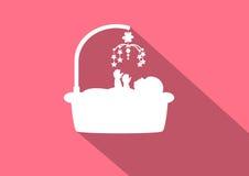 Babyikonen auf rosa Hintergründen, Vektor illusr=trations vektor abbildung