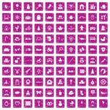 100 Babyikonen stellten Schmutzrosa ein Stockbilder