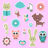 Babyish cute stickers set Royalty Free Stock Photo