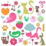 Babyish elements set. Babyish elements cute animals and objects set royalty free illustration