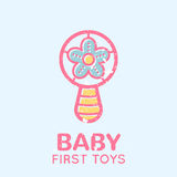 Babyish emblem with a beanbag toy Royalty Free Stock Images