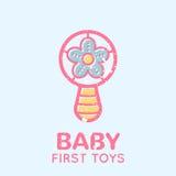 Babyish emblem with a beanbag toy. Babyish emblem with a beanbag (baby's first toys). Pastel color palette (pink, pale pink, yellow). Flat minimalistic image royalty free illustration
