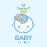 Babyish emblem with cute little boy. (baby prince). Pastel color palette (blue, pale blue, yellow). Flat minimalistic image with grunge texture (texture is easy vector illustration