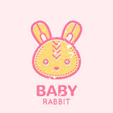 Babyish emblem with cute little bunny. (baby rabbit). Pastel color palette (pink, pale pink, yellow). Flat minimalistic image with grunge texture (texture is royalty free illustration