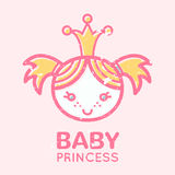 Babyish emblem with cute little girl. (baby princess). Pastel color palette (pink, pale pink, yellow). Flat minimalistic image with grunge texture (texture is royalty free illustration