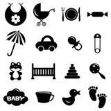 Babyish icons set. A set of various babyish icons vector illustration