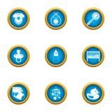 Babyish icons set, flat style. Babyish icons set. Flat set of 9 babyish vector icons for web isolated on white background royalty free illustration