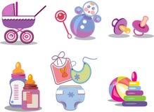 Babyish icons on the white background. Pram,ball,babyish bottles,rattle,pamper,comforter vector illustration