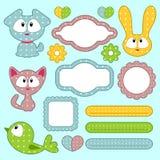 Babyish scrapbook elements with animals stock illustration