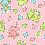 Babyish seamless pattern with baby monkeys and hearts. Vector seamless pattern with baby monkeys, christmas trees and hearts. Cute kawaii new year pattern with vector illustration