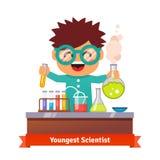 Babyjong geitje die chemieexperimenten doen Royalty-vrije Stock Fotografie