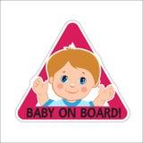 Babyjongen aan boord Vector illustratie Baby aan boord Baby aan boord van teken Stock Afbeelding