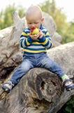 Babyjongen die een appel bijten Royalty-vrije Stock Fotografie