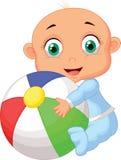 Babyjongen die kleurrijke bal houden stock illustratie