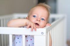 Babyjongen die zich in voederbak bevinden stock foto