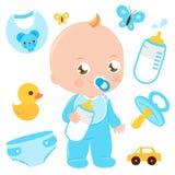 Babyjongen en babydouchetoebehoren vector illustratie