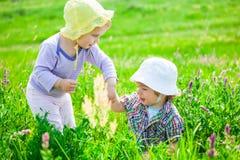 Babyjongen en babymeisje op een weide Royalty-vrije Stock Foto