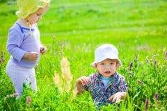 Babyjongen en babymeisje op een weide Stock Fotografie
