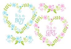 Babyjongen en meisje, bloemenharten, vector Royalty-vrije Stock Afbeeldingen