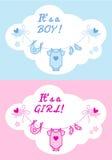 Babyjongen en meisje, vectorachtergrond Stock Foto's