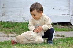 Babyjongen het spelen met kip stock afbeeldingen