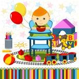 Babyjongen highchair Stock Afbeeldingen