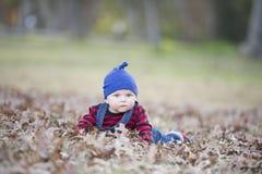 Babyjongen met beanie op een het gloeien de Herfstdag Stock Afbeelding