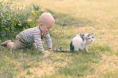 Babyjongen met een kat Stock Foto