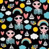 Babyjongen op vakantie naadloos patroon. Stock Foto