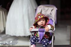 Babyjongen vóór huwelijkssluier Stock Foto