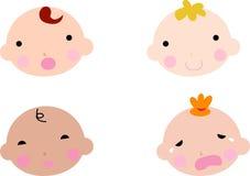 Babyjongens en baby de reeks van het meisjesgezicht Stock Fotografie