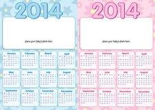 Babykalender 2014 auf englisch Stockfoto