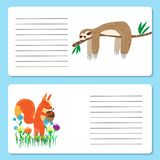 Babykarten mit netten Eichhörnchen- und Trägheitstieren, Grußkarten Stockbilder
