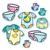 Babykleding en de slabsokken van toebehoren onesies luiers Royalty-vrije Stock Afbeelding