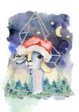 Babylama in illustratie van de waterverf de hand getrokken vrolijke Kerstmis van de Kerstmanhoed royalty-vrije illustratie