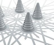 Babylon towers arrows Stock Images