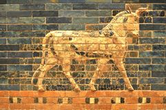 Babylonian architecture. Architectural detail of Babylonian fresco stock photo