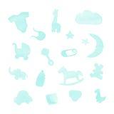 Babymaterial-Aquarellgestaltungselemente Stockfotos
