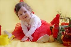 Babymeisje één jaarverjaardag Stock Foto