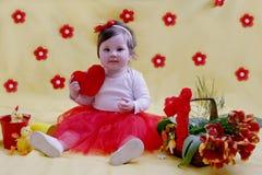 Babymeisje één jaarverjaardag Stock Afbeelding
