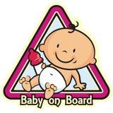 Babymeisje aan boord stock illustratie