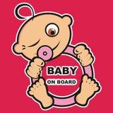 Babymeisje aan boord, banner stock illustratie