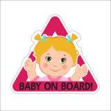Babymeisje aan boord Vector illustratie Baby aan boord Baby aan boord van teken Royalty-vrije Stock Foto's