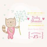 Babymeisje Cat Holding Flower - Babydouche of Aankomstkaart royalty-vrije illustratie